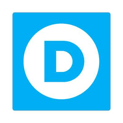 democrat blue d circle sticker