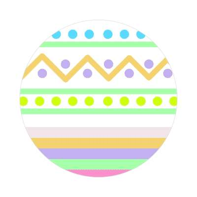 easter egg design zig zag dots variation white sticker