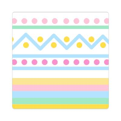 easter egg design zig zag dots white sticker