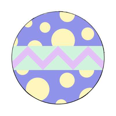 easter egg design zig zag polka dots blue medium magnet