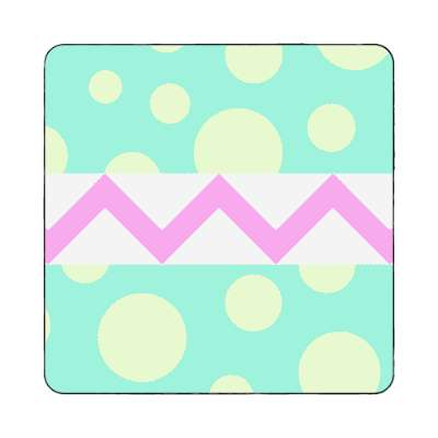 easter egg design zig zag polka dots pastel green yellow magnet