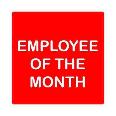 employee of the month red white sticker