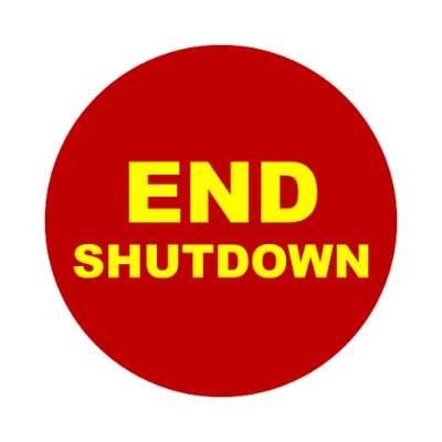 end shutdown dark red sticker