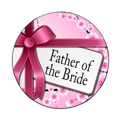 father of the bride pink ribbon card magnet