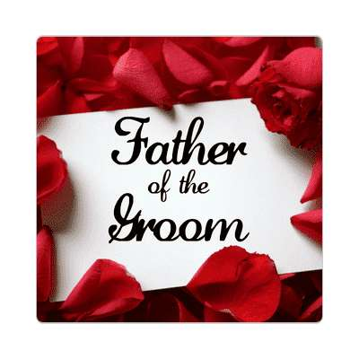 father of the groom red petals card sticker