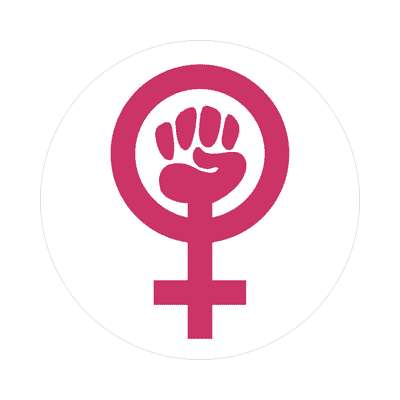 feminist symbol white sticker