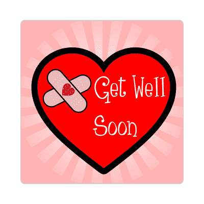 get well soon bandaid pink red heart sticker