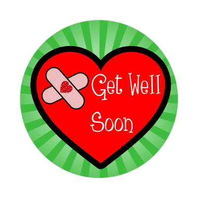 get well soon green rays bandaid heart sticker