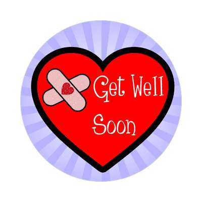 get well soon rays blue heart band aid sticker
