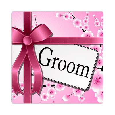 groom pink ribbon card sticker