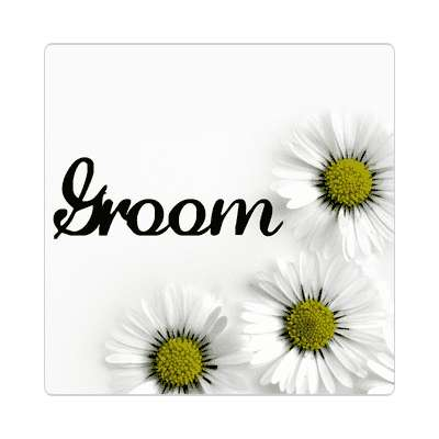 groom three yellow white flowers sticker