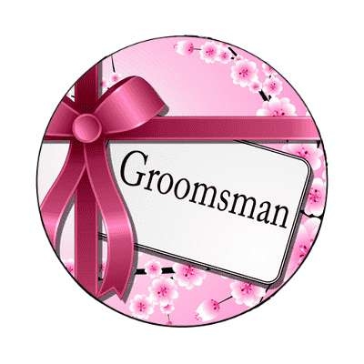 groomsman pink ribbon card magnet