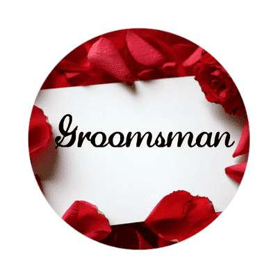 groomsman red petals card sticker