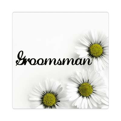 groomsman three yellow white flowers sticker