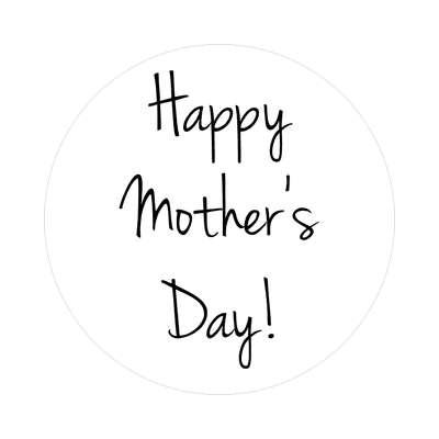 handwriting happy mothers day white sticker
