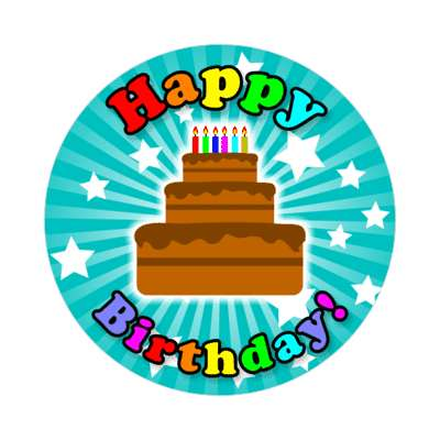 happy birthday teal rays candles cake sticker
