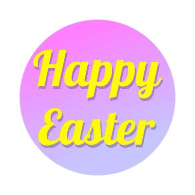 happy easter magenta blue sticker