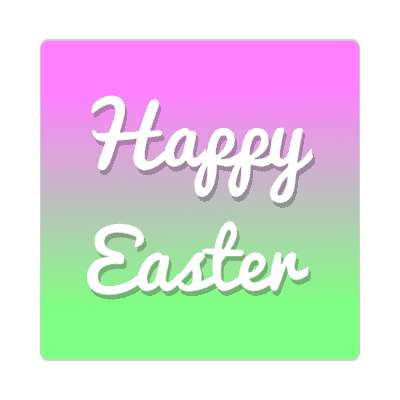 happy easter magenta green cursive sticker