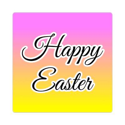 happy easter magenta orange yellow sticker