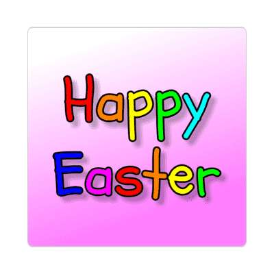 happy easter rainbow magenta sticker