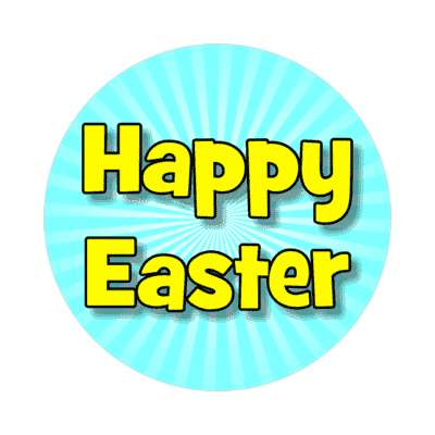 happy easter rays aqua sticker