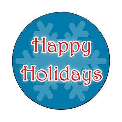 happy holidays frost snowflake blue magnet