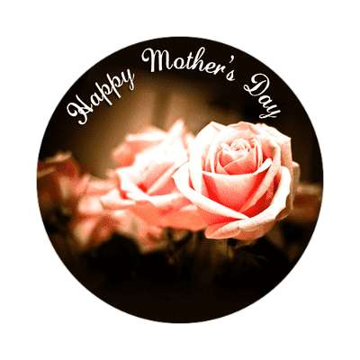 happy mothers day pink roses cursive sticker
