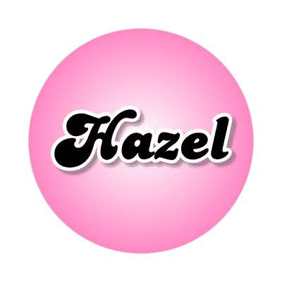 hazel female name pink sticker