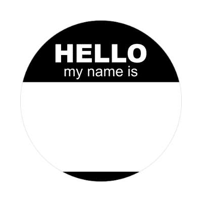 hello my name is black nametag sticker