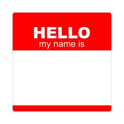 hello my name is red nametag sticker
