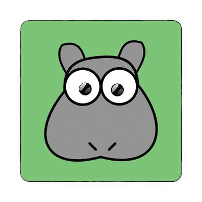 hippo cartoon cute animal magnet
