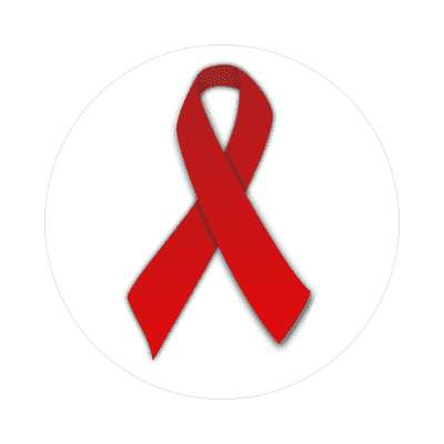 hiv aids red awareness ribbon white sticker
