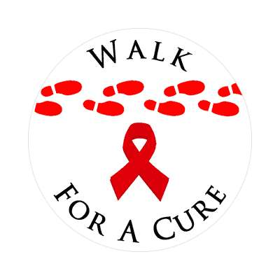 hiv walk for a cure red awareness ribbon aids footsteps sticker