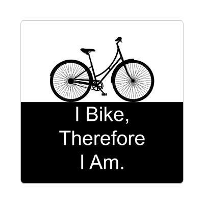 i bike therefore i am silhouette bicycle sticker