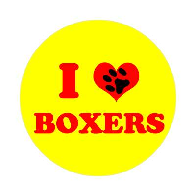 i heart boxers print paw sticker