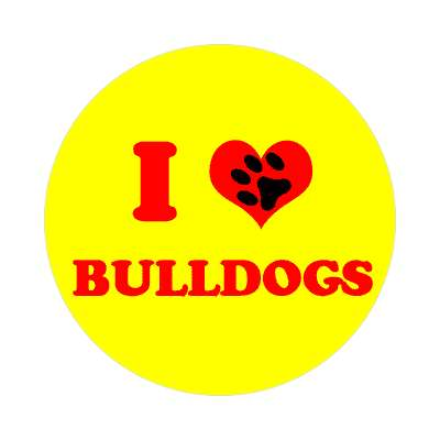 i heart bulldogs print paw sticker