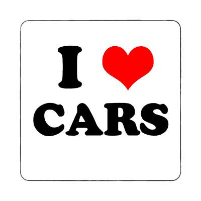 i heart cars red heart magnet