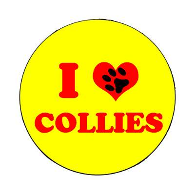 i heart collies print paw magnet