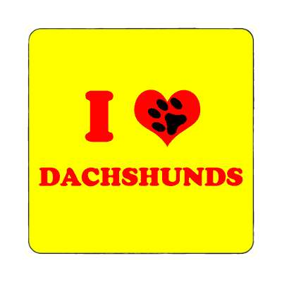 i heart dachshunds paw prints magnet