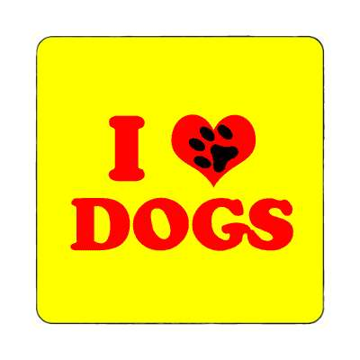 i heart dogs paw prints magnet