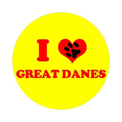 i heart great danes print paw sticker