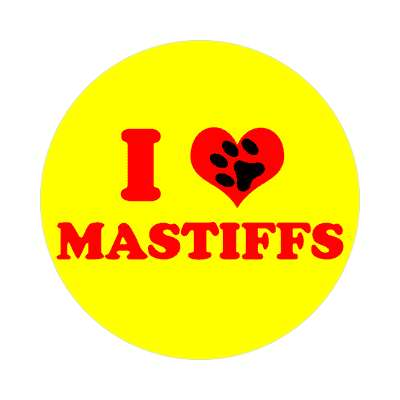 i heart mastiffs print paw sticker