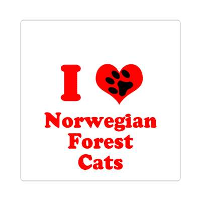 i heart norwegian forest cats paw print sticker