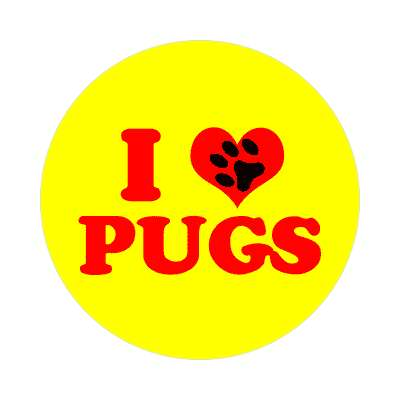 i heart pugs print paw sticker