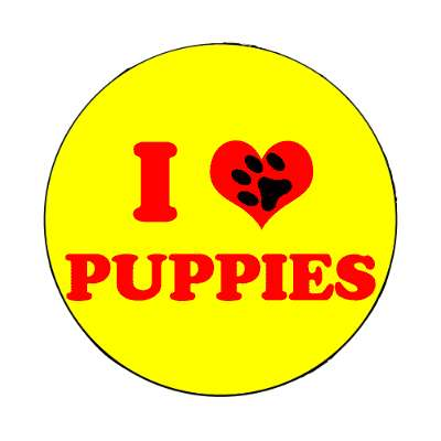 i heart puppies paw prints magnet