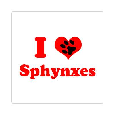 i heart sphynxes paw print sticker