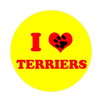 i heart terriers print paw sticker