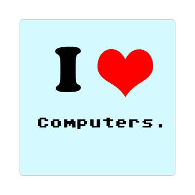 i love computers red heart sticker