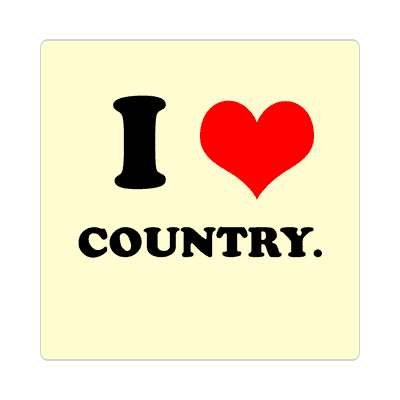 i love country red heart sticker