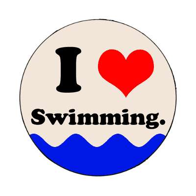 i love swimming red heart magnet